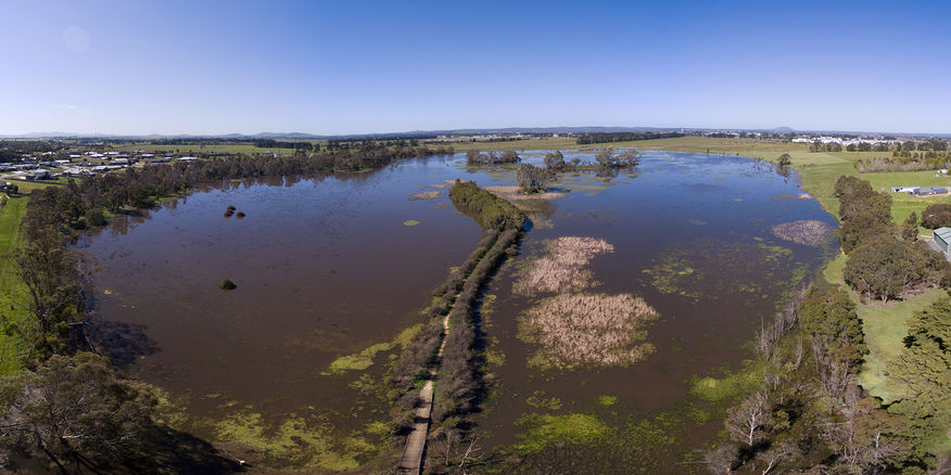 Aerial view of Mullawallah Wetlands Image supplied by Jamie Walhouse